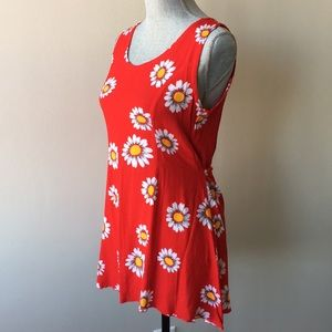 Floral Tunic Style Red Casual Top